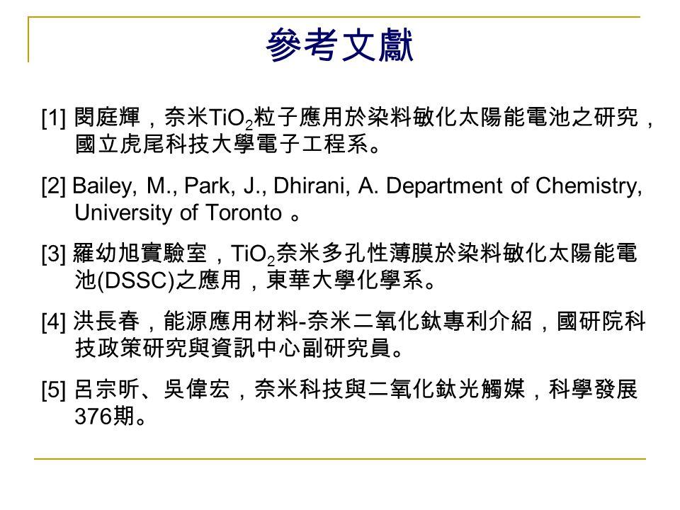 參考文獻 [1] 閔庭輝,奈米TiO2粒子應用於染料敏化太陽能電池之研究,國立虎尾科技大學電子工程系。